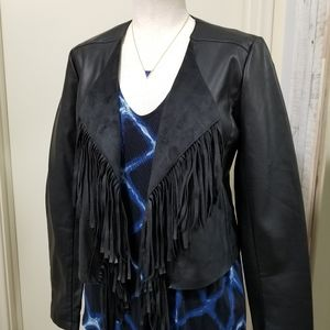Collection B Black Faux Leather Fringe Jacket S